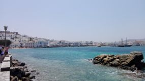 Mykonos port, Grekland Royaltyfri Bild