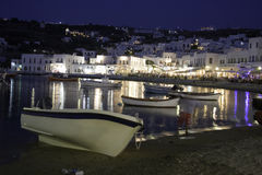 Mykonos port at night Stock Photos
