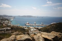Mykonos port. Overview of the port of mykonos Royalty Free Stock Image