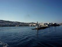 Mykonos port på morgonen Fotografering för Bildbyråer