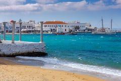 Mykonos Remblai de ville Photographie stock libre de droits