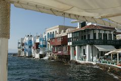 Mykonos small venice. The area of small venive at the island of mykonos, greece Stock Photo