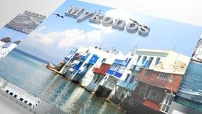 Mykonos ställen som ska besökas i slideshow som uppsättningfoto Arkivbild