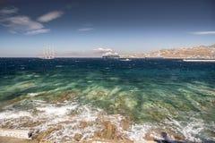 Mykonos stadhamn Grekland Fotografering för Bildbyråer