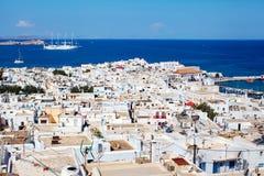 Mykonos-Stadt von oben, Griechenland stockfotos