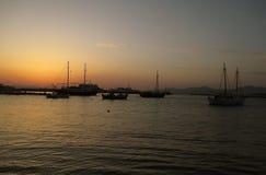 Mykonos Stary port pod pięknym zmierzchu niebem, Mykonos wyspa Fotografia Stock