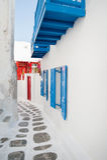 Mykonos street. Traditional greek architecture on the greek island of Mykonos Stock Photo