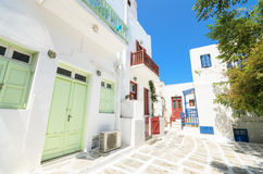 Mykonos street, Greek islands. Greece Stock Image