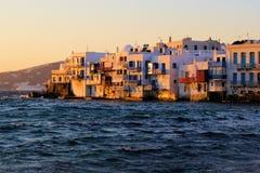 Mykonos sunset. Sunset view of the Little Venice neighborhood of Mykonos, Greece Royalty Free Stock Photo