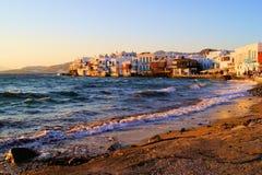 Mykonos sunset. Sunset view of the Little Venice neighborhood of Mykonos, Greece Royalty Free Stock Image