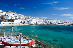 Mykonos Town. Beautiful Harbour of Mykonos Town, Greece Royalty Free Stock Images