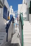 Mykonos Town Back Street. Summer sunshine in a back street of Mykonos Town Royalty Free Stock Image