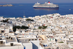Mykonos town with cruise on background Royalty Free Stock Images