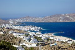 Mykonos town and harbor. Aerial view of Mykonos island town and harbor, Cyclades Island, Greece Stock Photography