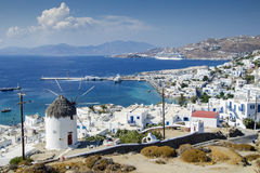 Mykonos town. View of Mykonos town with its famous windmills, Greece Royalty Free Stock Image
