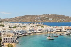 Mykonos Town. View of the port of Mykonos Town on the sea in Mykonos, Greece from a hilltop Stock Photo