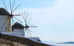 Mykonos Town Windmills Stock Photo