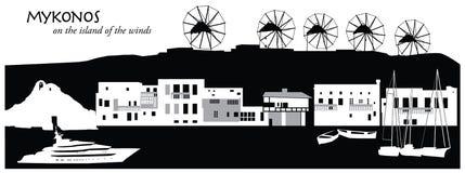 Mykonos. Vector illustration of the skyline cityscape of Mykonos, Greece Stock Photo
