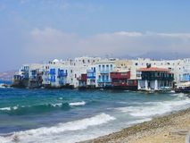 Mykonos view. Typical view of Mykonos, Greece, in the part of the town called Little Venice royalty free stock photos
