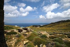 Mykonos view. Overview of mykonos from the mountain Royalty Free Stock Photography