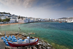 Mykonos view with taverna in front. Mykonos old port view with taverna in front in spring stock photography