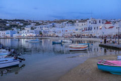 Mykonos Village at Night Stock Photography