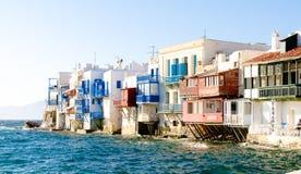 Mykonos Waterfront. Buildings along the water in Mykonos Greece Stock Images