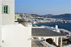Mykonos, white houses, tourism and Greek island stock photography