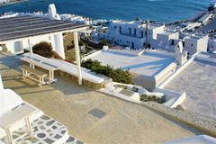 Mykonos, white houses, tourism and Greek island stock image