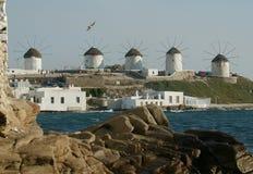 Mykonos Windmühlen Stockbild