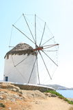 Mykonos windmill. The windmills are the quintessential features of Mykonos' landscape. There are plenty of them that have become a part and parcel of Mykonos Royalty Free Stock Photography