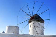 Mykonos Windmill. Windmill on Greek Island of Mykonos.  Brillian blue sky Stock Photo