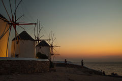 Mykonos Windmill. During sunset captured in june 2017 Royalty Free Stock Images