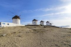Mykonos windmills, Chora, Greece Royalty Free Stock Images