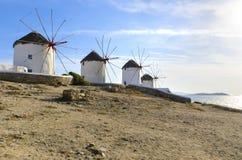 Mykonos windmills, Chora, Greece Stock Photos