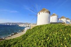 Mykonos windmills, Chora, Greece Royalty Free Stock Photo