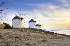 Mykonos windmills, Chora, Greece Stock Photography