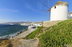Mykonos windmills, Chora, Greece Royalty Free Stock Image