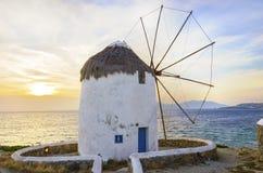 Mykonos windmills, Chora, Greece Stock Photo