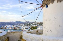 Mykonos windmills, Chora, Greece Royalty Free Stock Photos