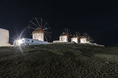Mykonos windmills by night Royalty Free Stock Images