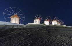 Mykonos windmills by night Stock Photos