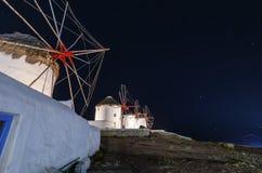 Mykonos windmills by night Stock Photo