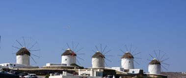 Mykonos Windmills Row Royalty Free Stock Images
