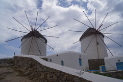Mykonos windmills Stock Photos