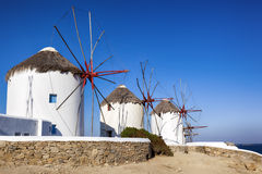 Mykonos Windmills. Traditional whitewashed windmills on island of Mykonos, Greece Stock Images