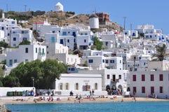 Mykonoswaterkant, Griekenland Stock Afbeeldingen