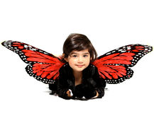 Myla. A pretty little girl with butterfly wings Stock Images