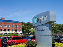 Mylan facility in Morgantown WV. MORGANTOWN, WEST VIRGINIA, USA - AUGUST 30: Exterior of Mylan drug manufacturing plant on August 30, 2016 in Morgantown, WV royalty free stock image