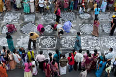 Indian Kolam festival in chennai. Kolam competition during Mylapore festival in Chennai stock photography